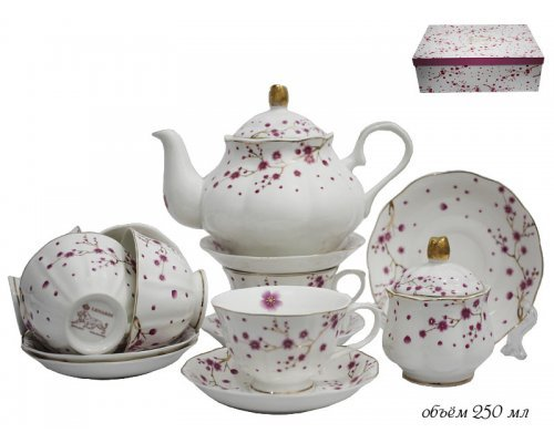 Чайный сервиз Lenardi Сакура на 6 персон 16 предметов в подарочной упаковке Фарфор