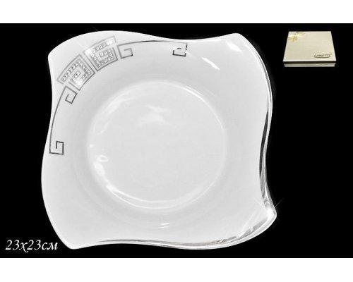 Глубокая тарелка 23 см в подарочной упаковке Стразы серебро. Фарфор