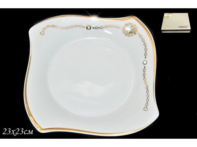 Глубокая тарелка 23см. Lenardi Золотая цепь в подарочной упаковке Фарфор
