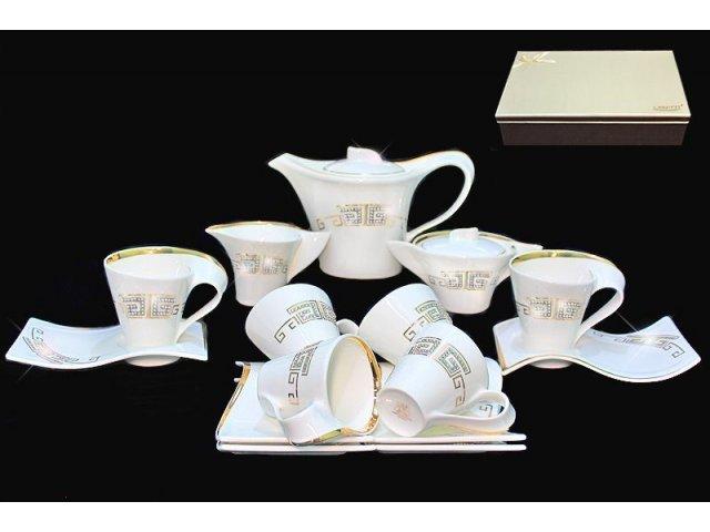 Чайный сервиз 17 предметов в подарочной упаковке Стразы золото. Фарфор