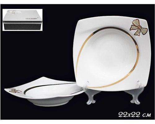 Набор из 2-х глубоких тарелок 22см в подарочной упаковке Lenardi Бантик Фарфор