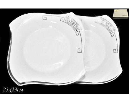 Набор из 2 тарелок 23см. в подарочной упаковке Lenardi Стразы серебро Фарфор