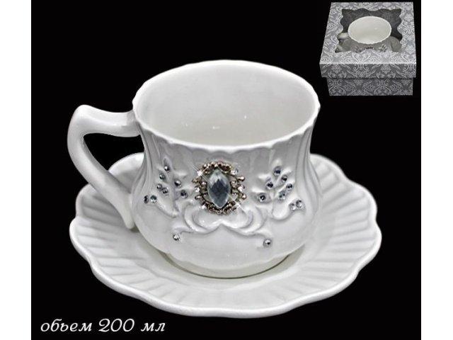 Чашка с блюдцем Lenardi Алмазная ветка в подарочной упаковке