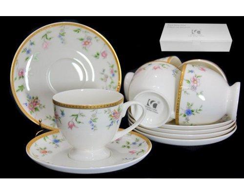 Чайный набор Lenardi Цветочная поляна на 6 персон 12 предметов в подарочной упаковке Костяной фарфор