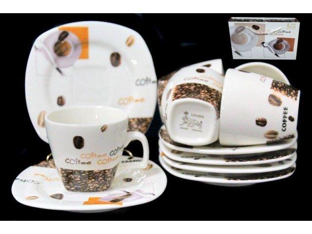 Кофейный набор Lenardi Капучино на 6 персон 12 предметов в подарочной упаковке Фарфор