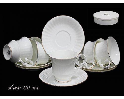 Чайный набор Lenardi на 6 персон 12 предметов 200мл.в подарочной упаковке Фарфор