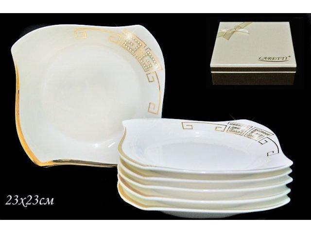 Набор из 6 тарелок 23см. Lenardi Стразы золото в подарочной упаковке Фарфор