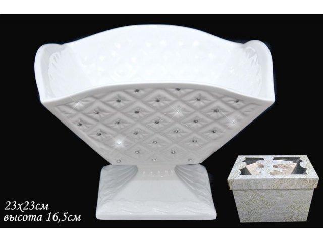 Квадратная конфетница на ножке 23см. Lenardi Северное сияние в подарочной упаковке Керамика