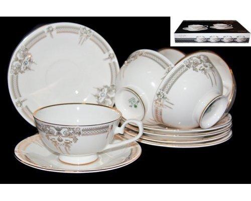 Чайный набор Lenardi Аристократ на 6 персон 12 предметов в подарочной упаковке Костяной фарфор