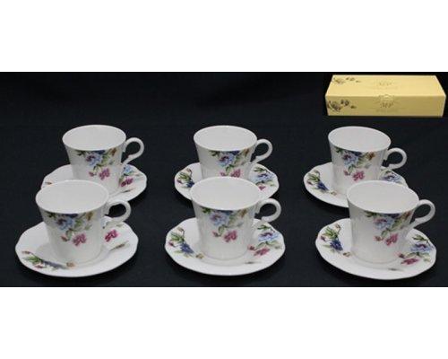 Чайный набор Lenardi на 6 персон 12 предметов в подарочной упаковке Костяной фарфор