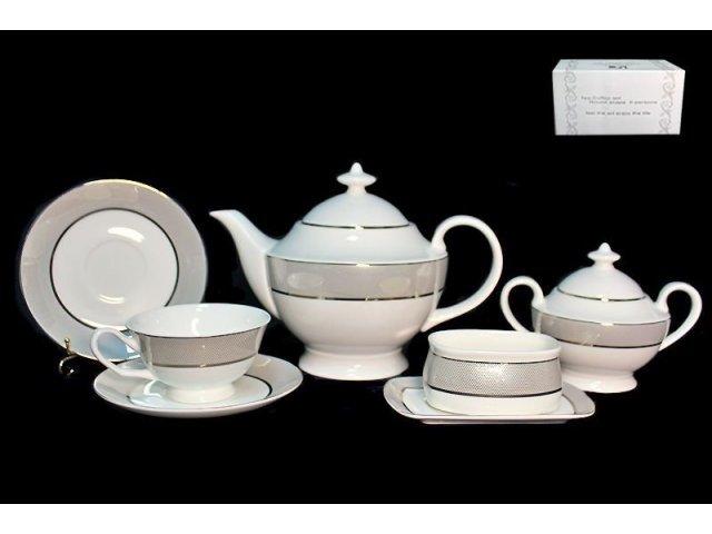 Чайный сервиз Lenardi Серебряная симфония на 6 персон 16 предметов в подарочной упаковке Костяной фарфор