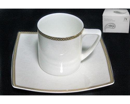 Чашка с блюдцем в подарочной упаковке Lenardi Galaxy gold Костяной фарфор
