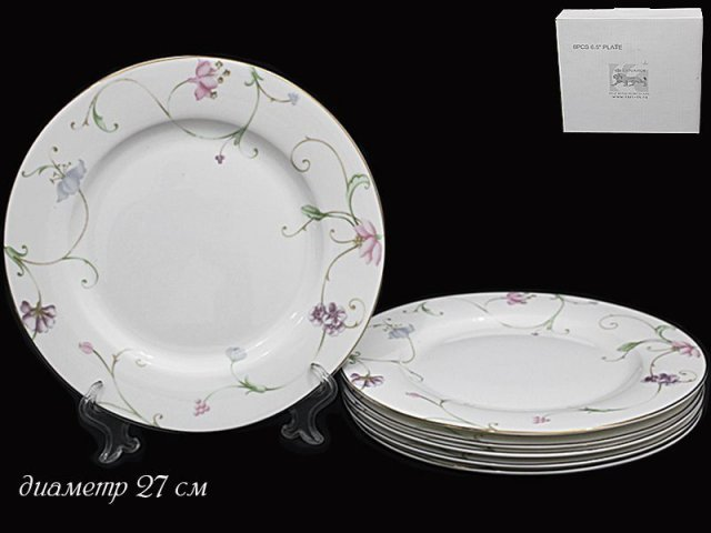 Набор 6 тарелок 27см Lenardi Английский сад в подарочной упаковке