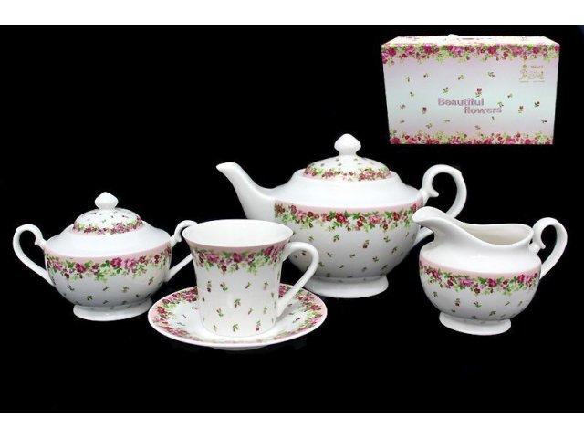 Чайный сервиз 17 предметов Розовый сад в подарочной упаковке. Фарфор