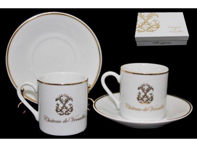 Кофейный набор Lenardi Версаль 4 предмета чашка 90мл. с блюдцем в подарочной упаковке Фарфор