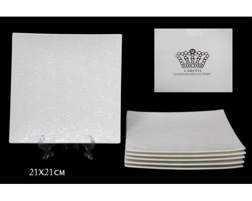 Набор из 6 тарелок 21см Lenardi Белая роза в подарочной упаковке Фарфор