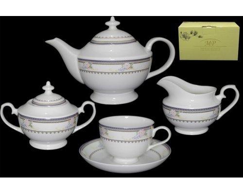 Чайный сервиз Lenardi Райский сад на 6 персон 17 предметов в подарочной упаковке Костяной фарфор