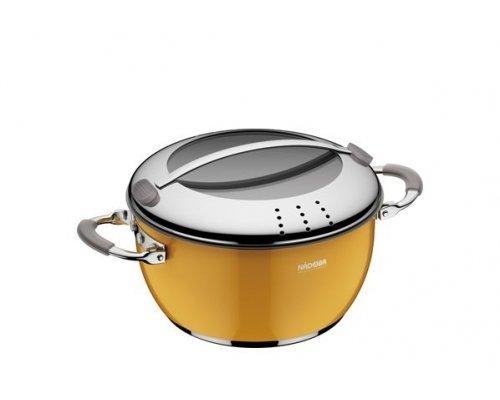 Кастрюля со стеклянной крышкой, желтая, 20 см/2,6 л, NADOBA, серия KVETUNKA