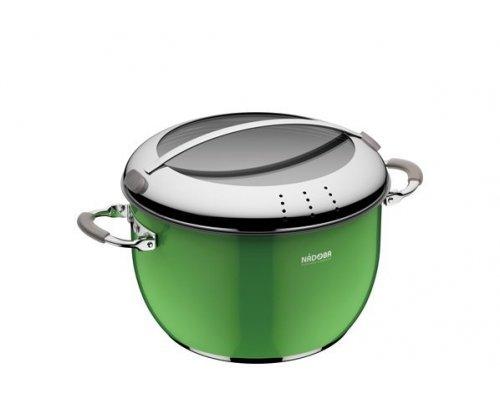 Кастрюля со стеклянной крышкой, зеленая, 24 см/5,5 л, NADOBA, серия KVETUNKA