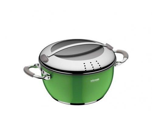 Кастрюля со стеклянной крышкой, зеленая, 20 см/2,6 л, NADOBA, серия KVETUNKA