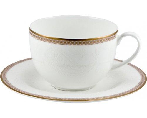 Набор 6 чайных пар 220мл Золотая вышивка Royal Bone China