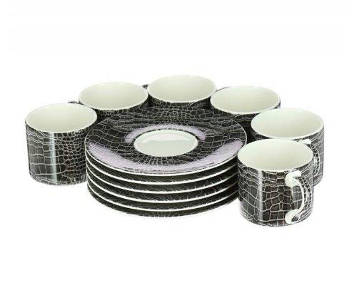 Набор 6 чайных пар Саби черный Royal Fine China 210мл