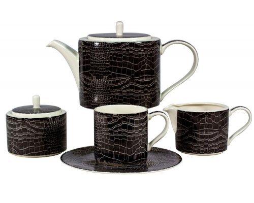 Сервиз чайный Саби черный Royal Fine China на 6 персон 17 предметов