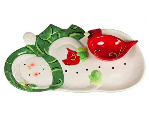 Набор посуды Снеговик Certified International: блюдо сервировочное 43см в виде Снеговика и салатник в виде Птички