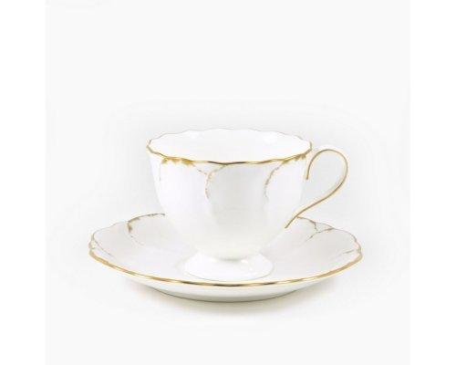 Набор для чая Narumi Белый с золотом 6 чашек 0.2л и 6 блюдец