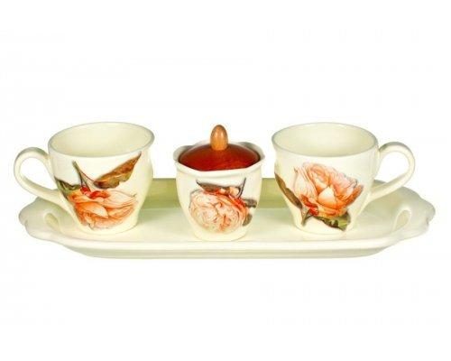 Набор для кофе на подносе Роза Nuova Ceramica на 2 персоны