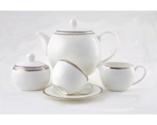 Сервиз чайный Серебряная вышивка Royal Bone China на 6 персон 17 предметов