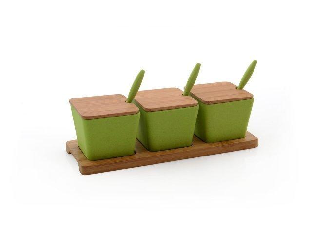 Набор баночек ø7,5см 0,15л на подставке (зеленые) 10пр CooknCo