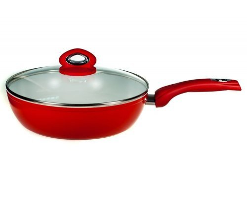 Сковорода вок глубокая с крышкой 28 см Красная керамика Bialetti V 3.45л