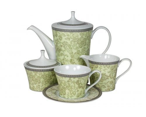 Сервиз чайный Монтра зеленый Royal Porcelain на 6 персон 17 предметов