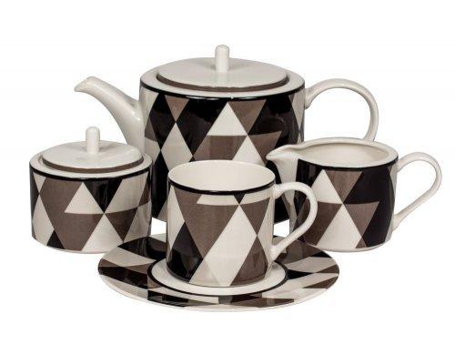 Сервиз чайный Минотти черный Royal Fine China на 6 персон 17 предметов
