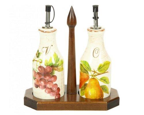 Набор емкостей под масло/уксус Фрукты Сестеси (Sestesi) (6*6*205) на деревянной подставке