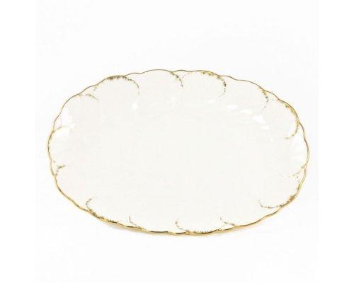 Блюдо овальное 32см Narumi Белый с золотом
