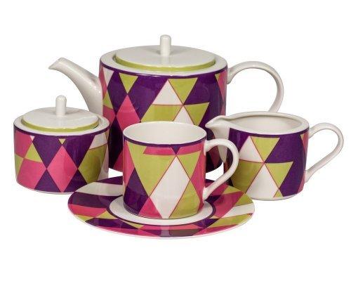 Сервиз чайный Минотти фиолетовый Royal Fine China на 6 персон 17 предметов