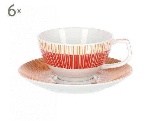 Набор 6 чайных пар 270 мл Страйп Маниа красный Royal Porcelain