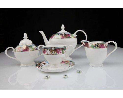 """Чайный сервиз Royal Aurel """"Цветущий сад"""" на 6 персон 15 предметов арт. 125"""