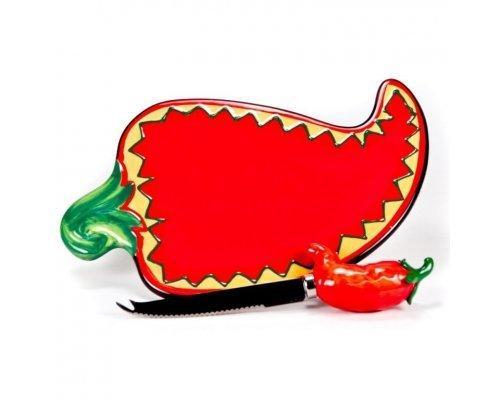 Набор для сыра Красный перец Certified International доска керамическая для сыра 23,5см с ножом