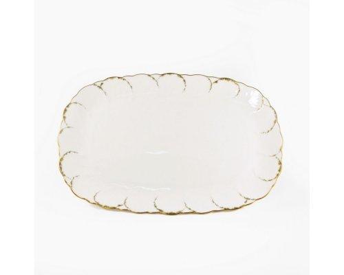 Блюдо овальное 38см Narumi Белый с золотом