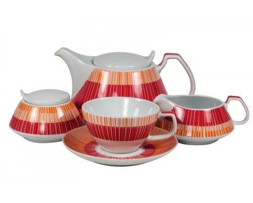 Сервиз чайный Страйп Маниа красный Royal Porcelain на 6 персон 17 предметов