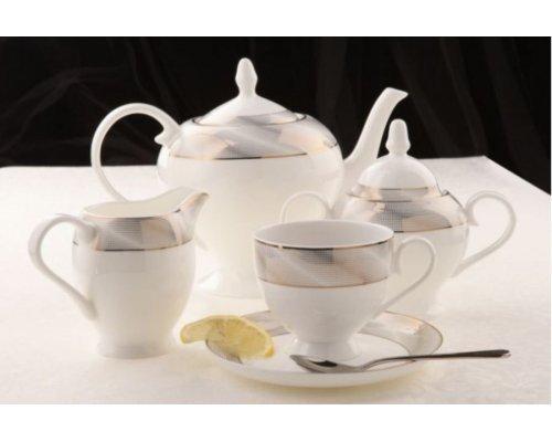 """Чайный сервиз Royal Aurel """"Платина"""" на 6 персон 15 предметов арт. 148"""