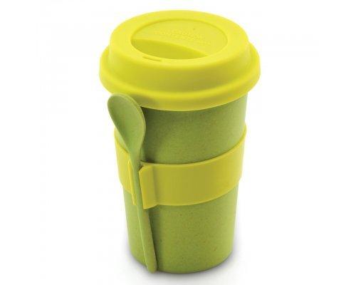 Кружка для кофе с ложкой 0,5л (салатовая) CooknCo