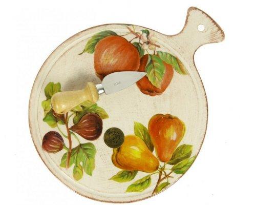 Набор для сыра Фрукты Сестеси (Sestesi) 2 предмета: керамическая доска 25*20,5 и нож 12см