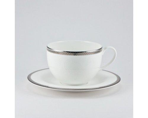 Чашка 210мл с блюдцем 15,5см Серебряная вышивка Royal Bone China