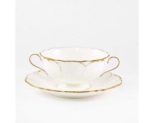 Бульонница 350мл на тарелке 17см Narumi Белый с золотом