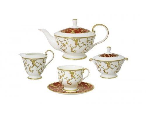 Сервиз чайный Narumi Престиж красный (Anatolia red) на 6 персон 17 предметов