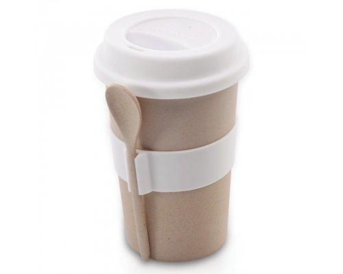 Кружка для кофе с ложкой 0,5л (бежевая) CooknCo